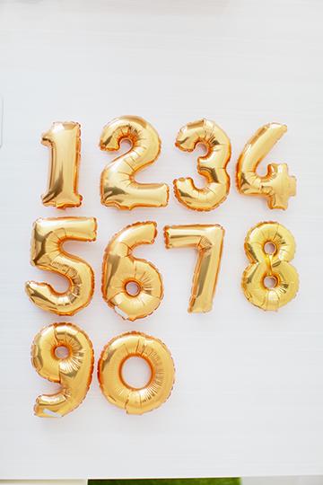 0〜9を選ぶ【数字バルーン】ゴールド 15cm 手のひらサイズ