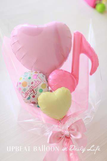 【入園・卒園・入学・卒業】パステルハートバルーン花束 ピンク