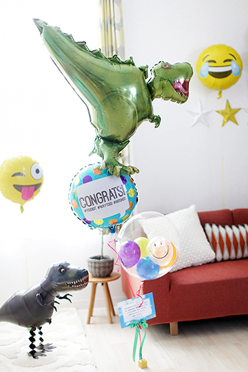 【お祝いごとなら何でも!祝電バルーン】T-REX&Congrats!
