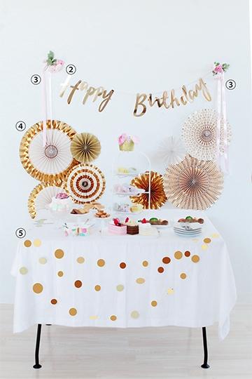 【誕生日 飾り付け バルーン】誕生日 飾り付け 5点セット/Little Birthday Pink&Gold