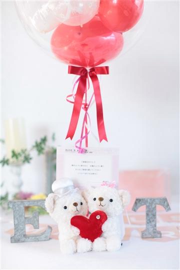【電報 結婚式 ぬいぐるみ】ホワイトベア ビックハート