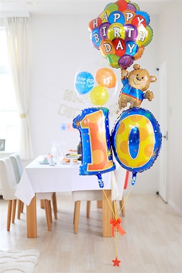 【大型】【誕生日 長寿 バルーン】サプライズバースデー「10〜99歳」ベア