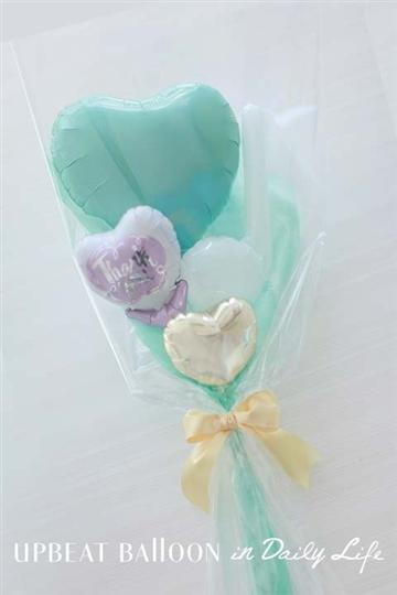 【入園・卒園・入学・卒業】パステルハートバルーン花束 ブルー