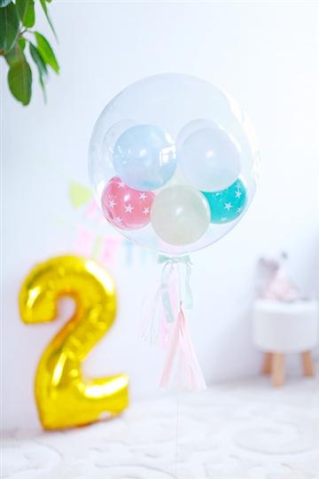 【誕生日 バルーン】 フリンジバルーン コロコロPastel&Star