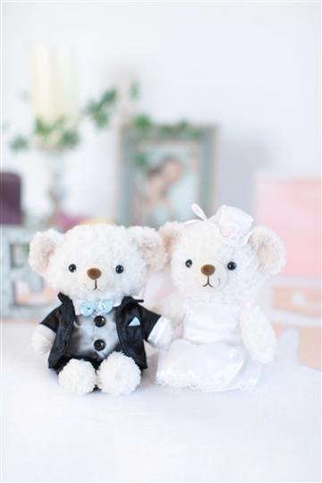 【電報 結婚式】ホワイトベア タキシードandドレス