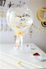 【誕生日バルーン】NAME入りBIRTHDAY・GOLDコンフェティ