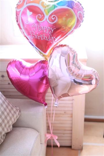 【誕生日 バルーン】ハート×3 バースデー(ピンク)