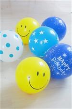 Smile&Birthday blue ゴム風船6枚セット