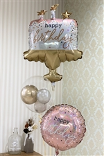 【誕生日 バルーン】Birthday cake confetti / Pink&Gold