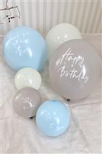 【当店限定】くすみカラーHappyBirthdayゴム風船6個セット/blue