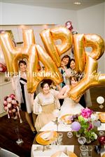 【自分で膨らます】【結婚式 フォト小物】HAPPY Gold L【ハンドポンプ付】