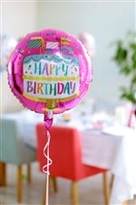 【誕生日  バルーン】ハッピーバースデーファンシーフラッグスケーキAG17