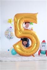 0〜9の数字バルーン★Jumboな130cm ジャンボナンバー/ゴールド