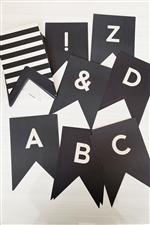 レターバナー60枚セット/ブラック&ホワイト【好きな言葉が作れる】