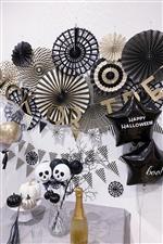 ペーパーファン8枚セット/ブラック&ホワイト