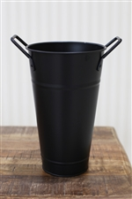 ブリキ花桶/黒